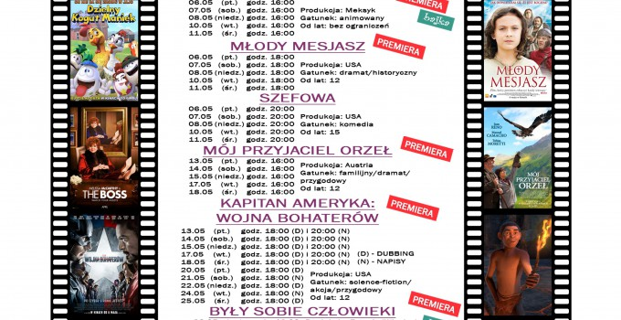 Terminarz kina WARSZAWA – maj 2016