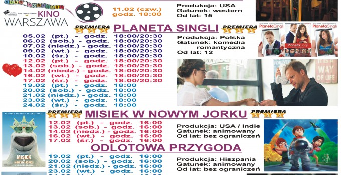 """Terminarz kina """"Warszawa"""" 29.01.2016 – 02.03.2016"""