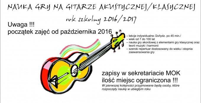 Nauka gry na gitarze – rok szkolny 2016/2017