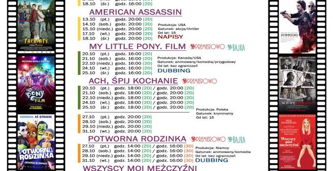 """Terminarz Kina """"WARSZAWA"""" na październik"""