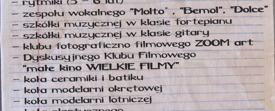 Zapisy na zajęcia – rok szkolny 2017/18